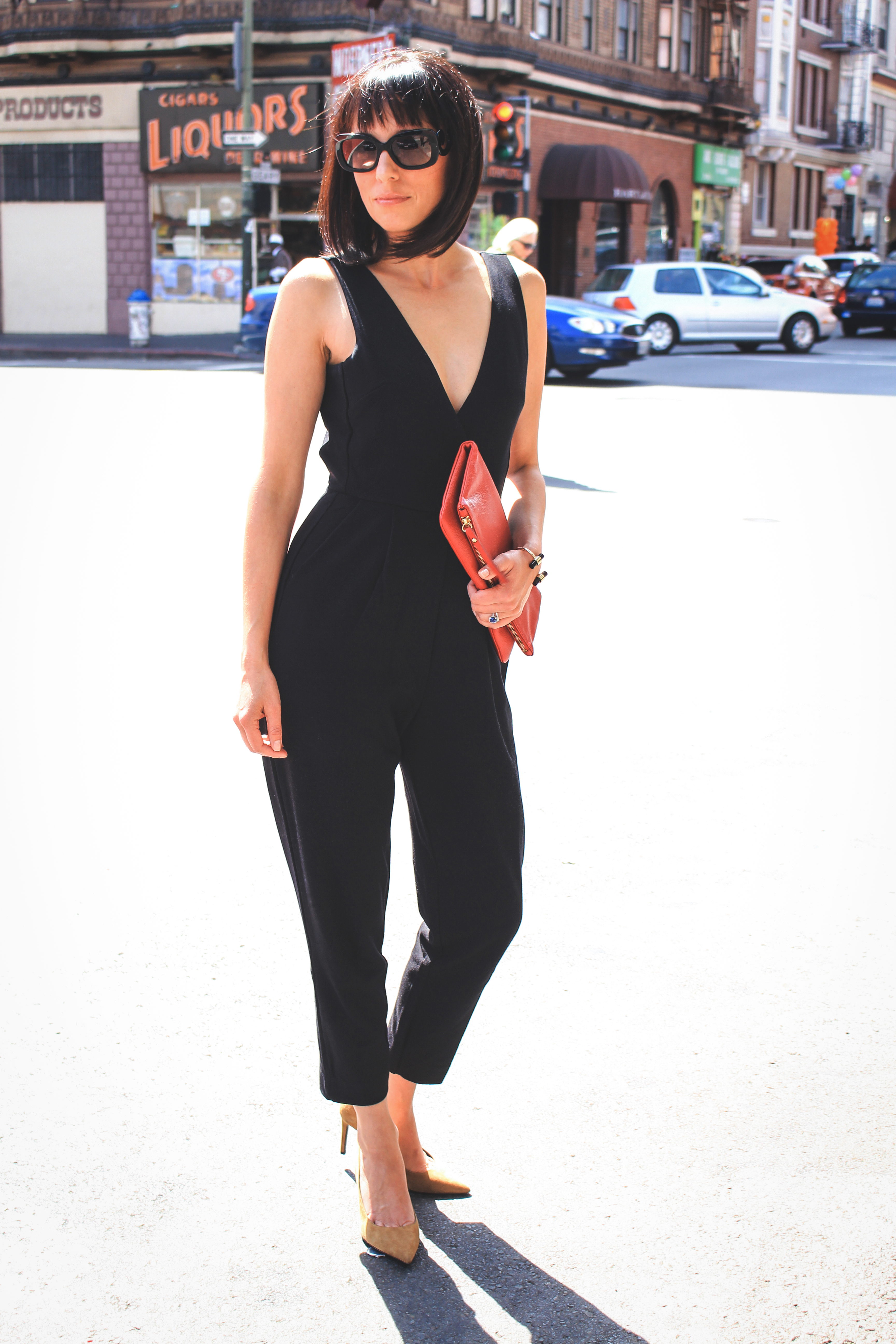 Nicole of Sweetie and Doll in a refined yet sexy jumpsuit by French Connection
